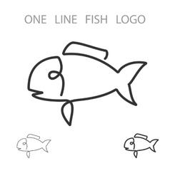Fish One Line Logo Minimalism Style Logotype vector image