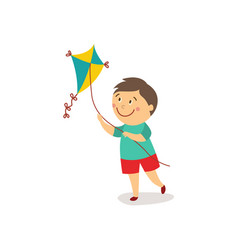 Flat cartoon boy launching kite vector