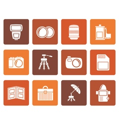 Flat Photography equipment icons vector