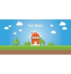 for rent renting house with text on top of the vector image