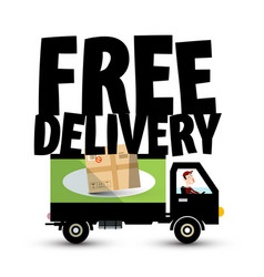 Free delivery icon with truck - van car transport vector
