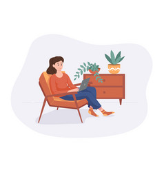 Freelance woman work from home comfortable space vector
