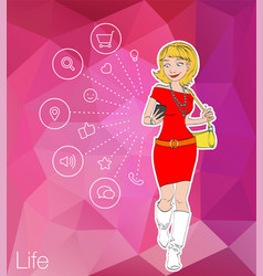 Girl looking at mobile phone apps vector