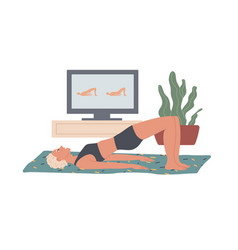 Glute bridge woman performs exercises at home vector