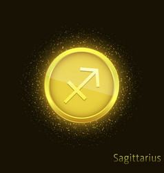 golden sagittarius sign vector image