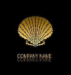 golden seashell symbol vector image