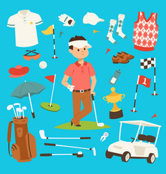 golf player clothes and accessories vector image