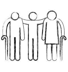 Grandparents couple with son avatars silhouettes vector