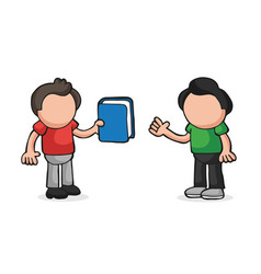 hand-drawn cartoon of man giving book to another vector image