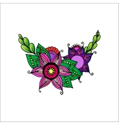 Hand Drawn Ornament with Flowers vector image