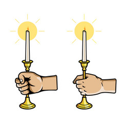 Hand grab candle stick vector