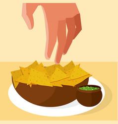 Hand grabbing nachos vector