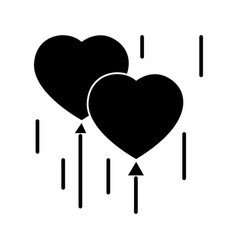 heart balloons icon black vector image