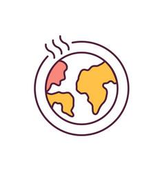 heated globe orange rgb color icon vector image
