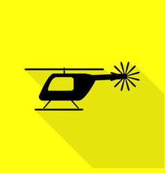 helicopter sign black icon with flat vector image
