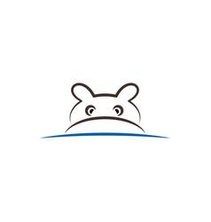 Hippo line icon sign vector