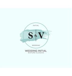 Initial sv letter beauty logo handwriting vector