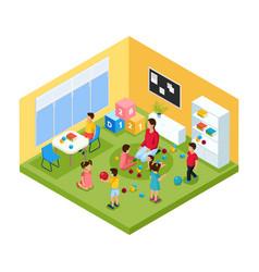 Isometric children in kindergarten concept vector
