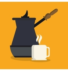 Kettle and mug of coffee shop design vector