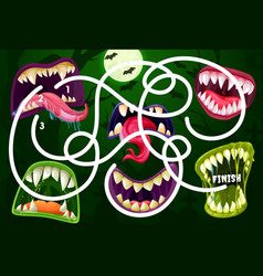 Kids maze game with monster mouths labyrinth vector