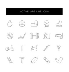 line icons set active life pack vector image