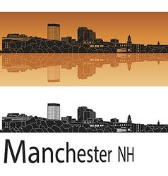 Manchester skyline in orange vector image