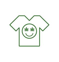 Marijuana smiley face cannabis smile white tee vector