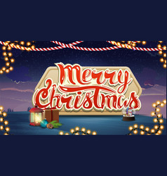 merry christmas blue and violet postcard vector image