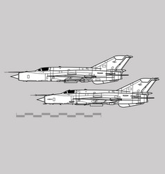 mikoyan-gurevich mig-21 fishbed vector image