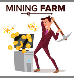 mining farm businessman miner vector image