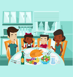 Multiracial family praying at festive table vector