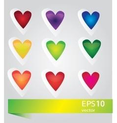 nine glossy hearts f vector image
