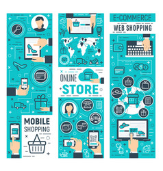 online store and computer e-commerce technology vector image