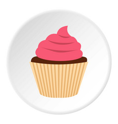 Pink cupcake icon circle vector