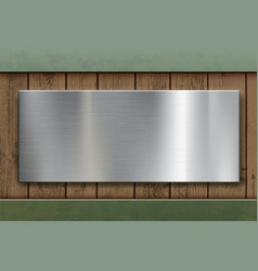 polished blank metal plate on wooden panels vector image