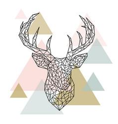 polygonal head deer portrait scandinavian style vector image