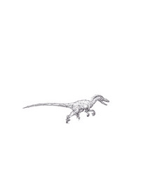 Polygonal velociraptor as animal sketch concept vector