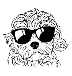 Portrait a dog in glasses heads dog vector