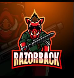 Razorback gunners mascot esport logo design vector