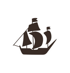 retro sailing vessel silhouette black icon vector image