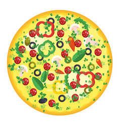 Round pizza with sausage vector