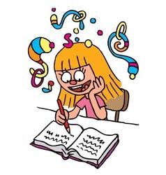 School Girl homework imagination vector