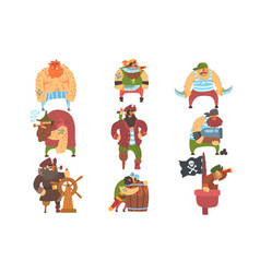 scruffy pirates cartoon characters set vector image