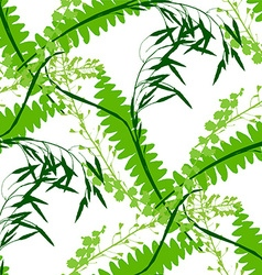 Seamless green background with wildflowers vector image