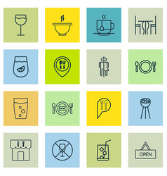 set of 16 meal icons includes fresh dining hot vector image