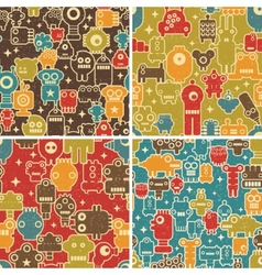 Set of seamless patterns with robots vector image vector image