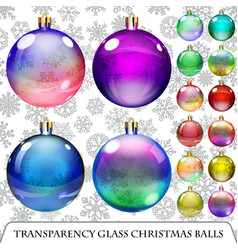 Set of transparent Christmas balls vector image