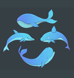 set of underwater life with whales and dolphin vector image