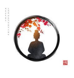 silhouette meditating buddha and sakura tree in vector image