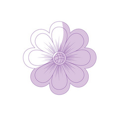 Silhouette natural flower plant with petals vector